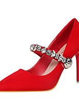 Damen-High Heels-Kleid-Wildleder-Stöckelabsatz-Komfort-Grau Rot Grün Rosa Khaki