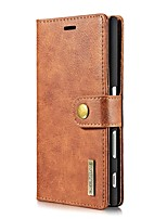 Para Carteira Porta-Cartão Flip Capinha Corpo Inteiro Capinha Cor Única Rígida Couro Legitimo para Sony Sony Xperia X