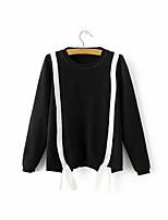 Women's Casual/Daily Cute Regular Cardigan,Color Block White / Black Halter Long Sleeve Cashmere / Polyester Fall Medium Micro-elastic