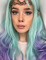 Sylvia Synthetic Lace front Wig Green to Blue Heat Resistant Long Natural Wave Ombre Synthetic Wigs