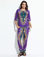 Chemise Pantalon Costumes Femme,Imprimé Décontracté / Quotidien Vintage Automne ½ Manches Col Arrondi Violet Polyester Opaque