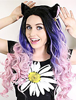 Sylvia Synthetic Lace front Wig Black Roots Purple Three Tones Hair Ombre Hair Heat Resistant Long Natual Wave Synthetic Wigs