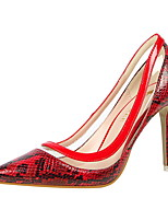 Damen-High Heels-Kleid-Kunstleder-Stöckelabsatz-Komfort-Weiß Schwarz Rot Grün