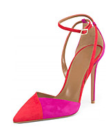 Women's Heels Spring Summer Fall Fleece Office & Career Party & Evening Dress Casual Stiletto Heel Buckle Split Joint Red