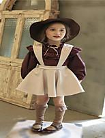 Mädchen Anzug & Overall / Kleidungs Set-Ausgehen einfarbig Baumwolle Frühling / Herbst Rot / Beige