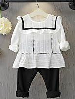 Girl's Casual/Daily Solid Blouse / Pants / Clothing SetCotton Spring / Fall White