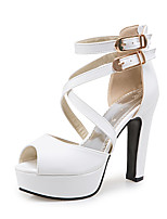 Women's Sandals Spring Summer Fall PU Office & Career Dress Party & Evening Chunky Heel Buckle White Black Yellow