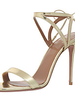 Women's Sandals Summer Leatherette Office & Career Party & Evening Dress Casual Stiletto Heel Buckle Gold Silver