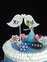 10pcs Mr and Mrs Wedding Cake Topper Wedding Decoration Paper Glitter Cake Topper Baby Shower Wedding Favor/Supplies