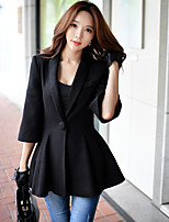 Women's Casual/Daily / Work Vintage / Sophisticated CoatSolid Notch Lapel  Sleeve