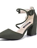 Women's Sandals Summer Club Shoes Fleece Office & Career Dress Casual Chunky Heel Gore Hook & Loop Black Green Pink Gray Walking