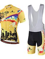 Miloto חולצת ג'רסי ומכנס קצר ביב לרכיבה יוניסקס שרוול קצר אופניים גרביונים ביב ג'רזי תומך זיעה דחיסה 3D לוח רצועות מחזירי אורספנדקס