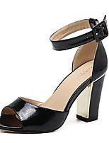 Sandalen-Kleid-PU-Blockabsatz-Club-Schuhe-Schwarz Weiß