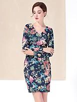 Gaine Robe Femme Sortie simple,Fleur Col en V Au dessus du genou Manches Longues Bleu Polyester Automne Hiver Taille Normale Non Elastique