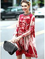 Feminino Evasê Vestido,Para Noite Fofo Floral Decote Redondo Acima do Joelho Manga Longa Vermelho Seda Primavera Verão Cintura Média