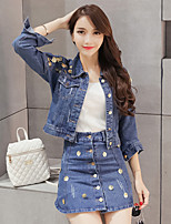 Sign spring Korean sequined long-sleeved denim jacket + single breasted high waist skirt piece fitted women