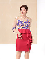 Women's Casual/Daily Simple Sophisticated Bodycon Dress,Embroidered Peplum Round Neck Above Knee ¾ Sleeve Polyester Blue Red Fall Winter