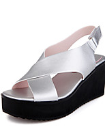 Sandals Spring Summer Fall Slingback PU Office & Career Dress Casual Wedge Heel Buckle Black White Silver