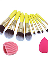 9pc Makeup Brushes Set Synthetic Hair  Wood Handle Lemon Yellow Color Makeup Brush