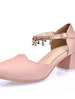 Women's Heels Spring Summer Fall PU Office & Career Dress Casual Chunky Heel Rhinestone Buckle Chain White Blue Blushing Pink
