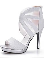 Sandalen-Büro Kleid Party & Festivität-Kunststoff-Stöckelabsatz-Club-Schuhe-Schwarz Silber Gold