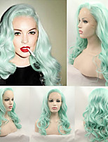 Pastel Hair Soft Wave Fashion Mint Green Heat Resistant Synthetic Lace Front Wigs for Women Sexy   Lindsay Lohan's Green Wig New Hot Hairstyle