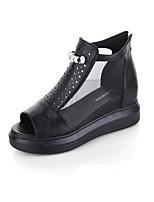 Sandalen-Kleid Lässig-Tüll PU-Flacher Absatz-Komfort-Schwarz Weiß Silber