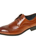 Черный Коричневый-Для мужчин-Свадьба Для офиса Для вечеринки / ужина-Дерматин-На толстом каблуке Блочная пятка-Удобная обувь Баллок обувь-