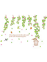 Wall Stickers Wall Decals Style Green Leaves Cage PVC Wall Stickers