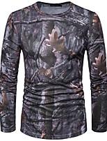 Tee-shirt Homme,Imprimé Couleur Pleine Décontracté / Quotidien simple Printemps Eté Manches Longues Col Arrondi Gris Coton Moyen