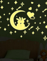 Cartoon Moon Rabbit Luminous Wall Stickers Vinyl Material Kid's Room Decoration
