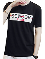Men's Plus Size Casual/Daily Beach Simple Street chic Active Summer T-shirt,Solid Print Letter Round Neck Short Sleeve White BlackCotton