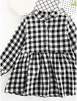 Girl's Check Dress,Cotton Rayon Summer Long Sleeve
