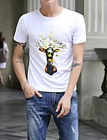 Herren Tierfell-Druck Einfach Street Schick Aktiv Ausgehen Lässig/Alltäglich Urlaub T-shirt,Rundhalsausschnitt Alle Saisons Kurzarm