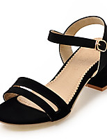 Women's Sandals Spring Summer Fall PU Office & Career Dress Casual Chunky Heel Block Heel Buckle Black Red Almond