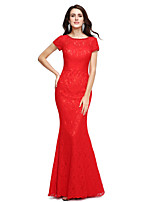 Formal Evening Dress - Elegant Sheath / Column Jewel Floor-length Lace with Beading