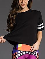 Damen Gestreift Einfach Lässig/Alltäglich T-shirt,Rundhalsausschnitt Frühling Sommer Kurzarm Polyester Mittel