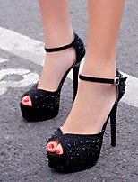 Heels Spring Club Shoes PU Dress Stiletto Heel Beading Black Silver
