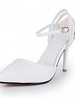 Tacón Stiletto-Confort Innovador-Tacones-Boda Oficina y Trabajo Vestido Informal Fiesta y Noche-Cuero Patentado Semicuero-Rosa Blanco