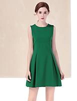 Офис На каждый день Простое А-силуэт Платье Однотонный,Круглый вырез Выше колена Без рукавов Красный Зеленый Полиэстер ВеснаСо