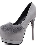 Heels Spring Club Shoes Fleece Dress Stiletto Heel Pom-pom Black Gray