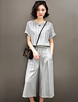 2017 spring and summer new Miss Han Ban Slim temperament casual two-piece suit wide leg pants fashion