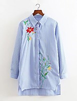 Women's Embroidery Going out Casual/Daily Sexy Simple Street chic Spring Fall Shirt,Solid Striped Floral Shirt Collar Long Sleeve Cotton Medium