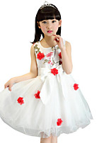 Girl's Solid Floral Dress,Cotton Polyester Summer Sleeveless