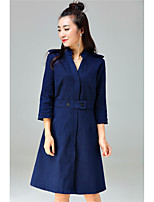 YANG X-M Going out Cute A Line DressSolid Stand Knee-length  Sleeve Cotton Blue Spring Winter Mid Rise Micro-elastic