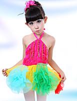 Латино Платья Для девочек Детские Выступление Хлопок Полиэстер Пайетками Цветы Блестки Планка Цветовые блоки 2 предмета Без рукавов