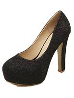 Women's Heels Spring Fall Comfort PU Casual Chunky Heel Rhinestone Black Pink Silver Walking