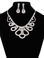Jewelry 1 Necklace 1 Pair of Earrings Imitation Diamond Rhinestone Wedding Party Special Occasion Daily Alloy Rhinestone 1set Silver
