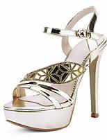 Women's Sandals Summer Club Shoes Leatherette Wedding Dress Party & Evening Stiletto Heel Rhinestone Buckle Gold Silver