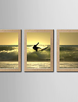 Estampado Giclée Famoso Paisagem Realismo,3 Painéis Panorâmico Vertical Impressão artística Decoração de Parede For Decoração para casa